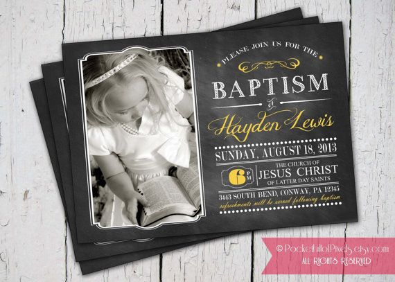LDS Baptism Chalkboard Invitation and Announcement by