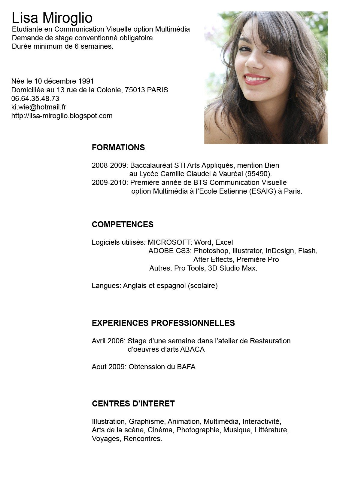 Curriculum Vitae Modelo Word En Ingles   All Document Resume Trucos Londres
