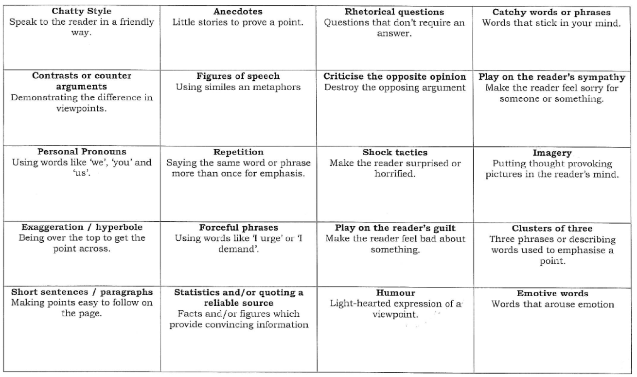 Persuasive Techniques Worksheet