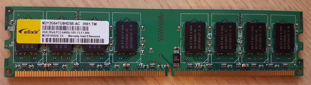 Elixir M2Y2G64TU8HD5B-AC PC2-6400U-555 2GB 2Rx8 DDR2 RAM