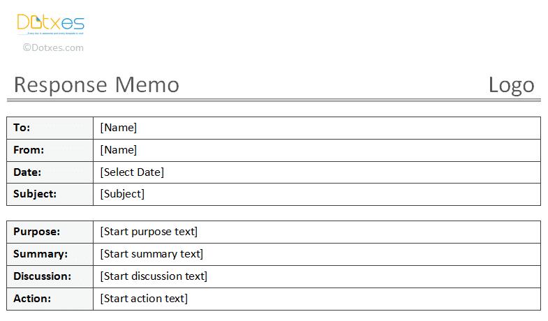Response Memo Template  Memo Templates  Dotxes    Easy
