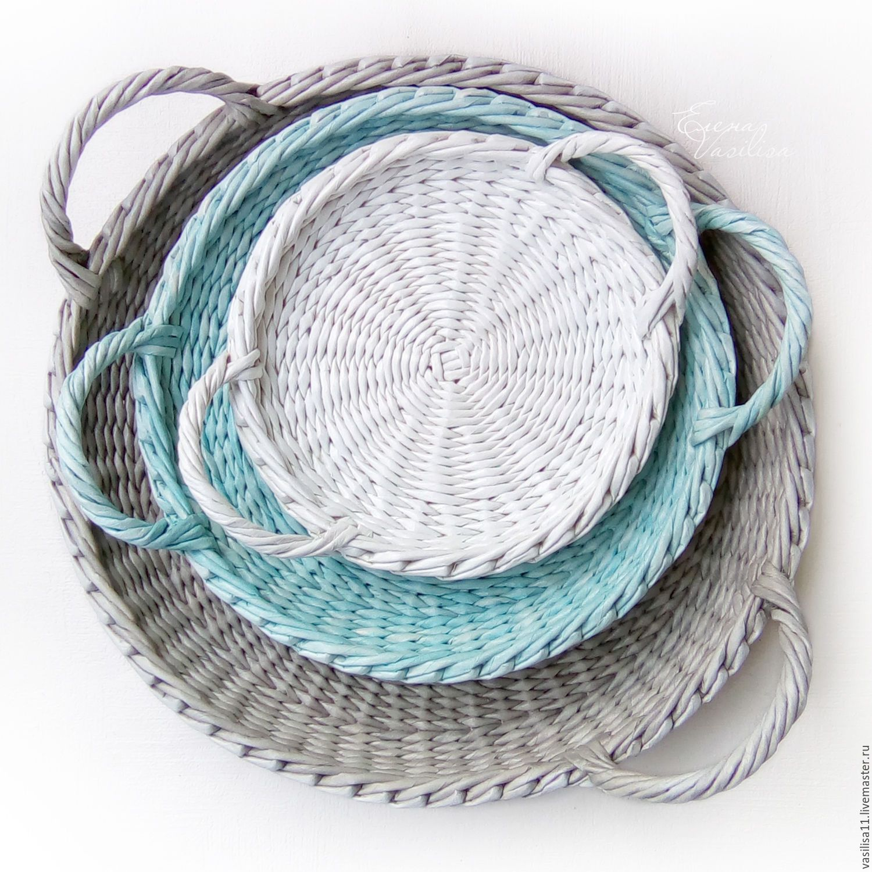 """Купить Тарелки настенные """"Лето"""" набор подносов (3 шт.) - тарелки плетеные"""