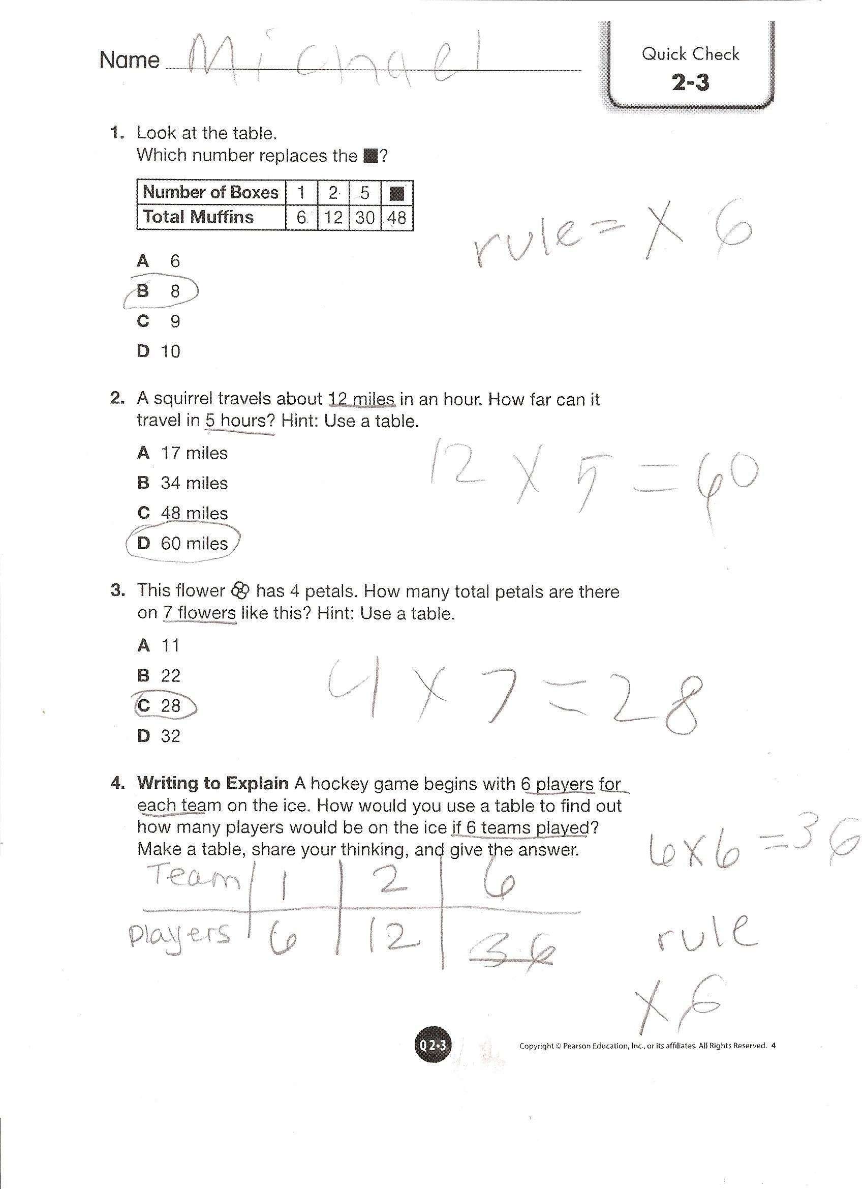 Envision Math Grade 4 Topic 2-3 Quick Check | Envision 4th ...