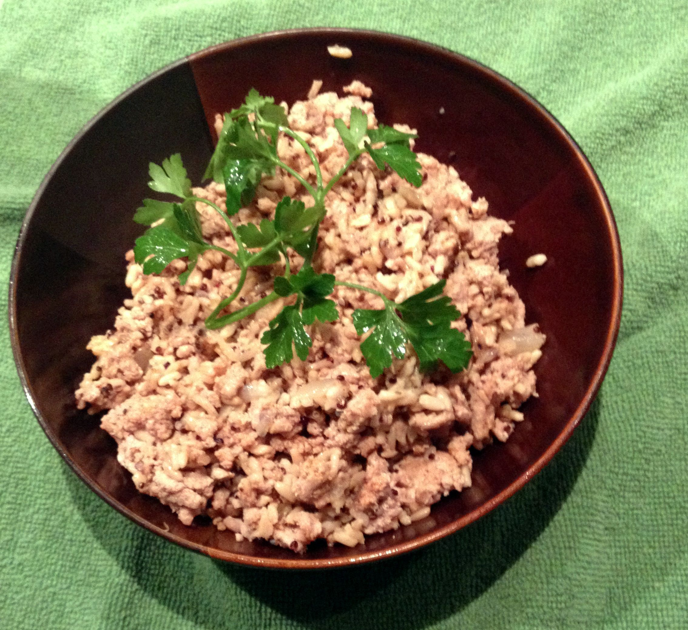 Ground turkey quinoa and brown rice bowl