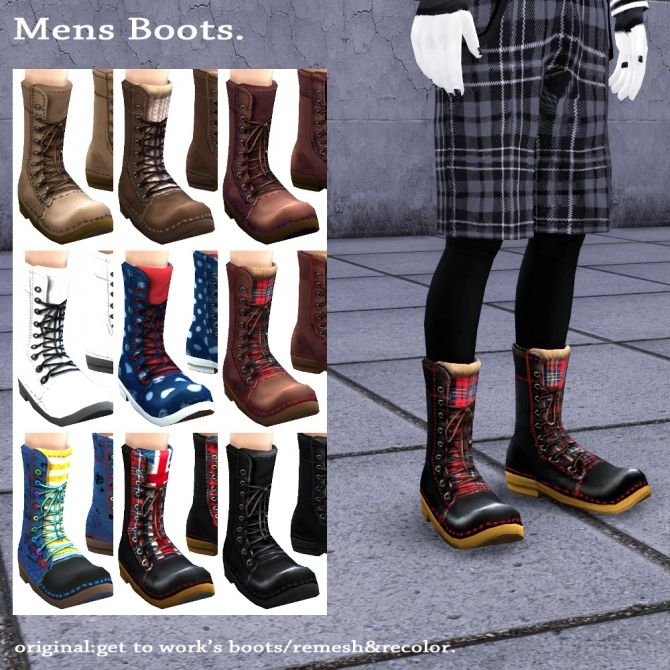 GTW boots for males recolor at Imadako via Sims 4 Updates