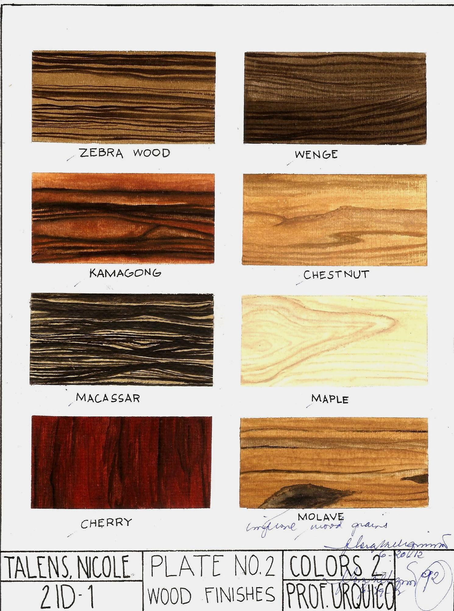subject colors 2 rendering wood finishes watercolor on 8 5 x11 watercolor paper oh no late. Black Bedroom Furniture Sets. Home Design Ideas