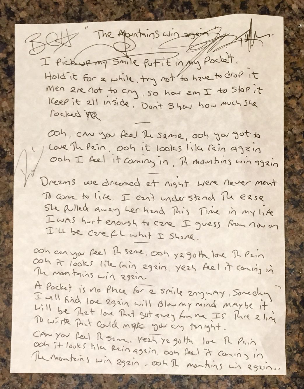 """Handwritten and signed lyrics to the song """"The Mountains Win Again"""" by Blues Traveler. Part of their PledgeMusic campaign."""
