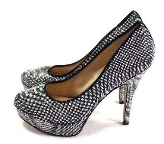 32f7b20ea41b80 Enzo Angiolini Women s High Heels Size 8.5 Silver Bling Rhinestone Platform  Pump  EnzoAngiolini  PlatformsWedges