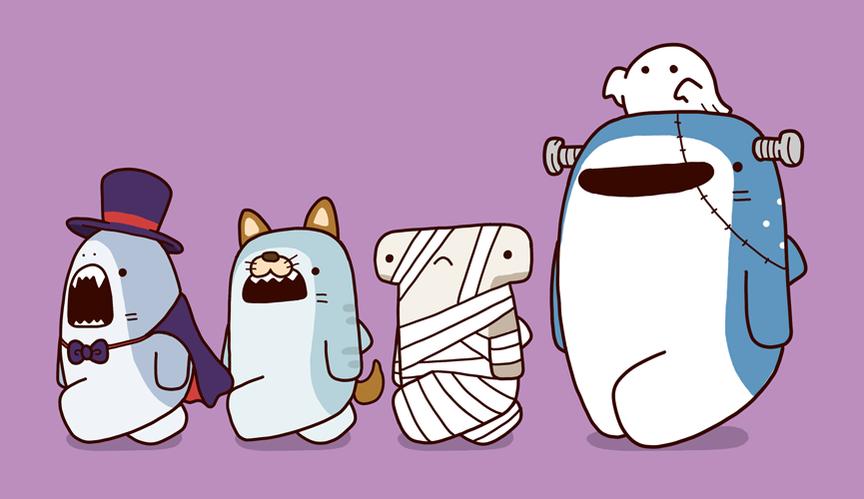 Halloween Cute shark, Cute kawaii animals, Cute drawings