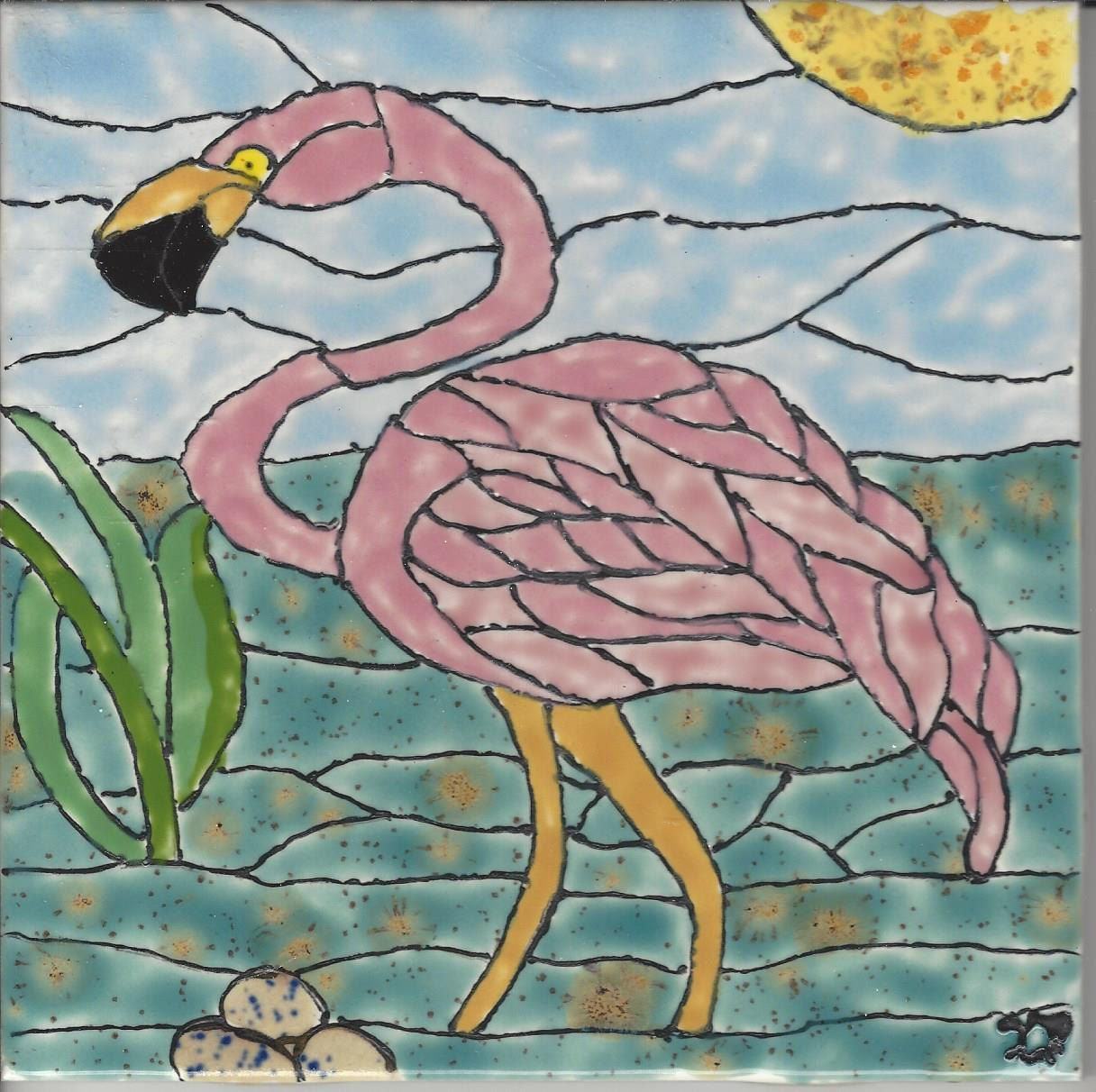 Flamingo 203 hand painted kiln fired decorative ceramic wall art flamingo 203 hand painted kiln fired decorative ceramic wall art tile 6 x 6 by pamsceramicart dailygadgetfo Choice Image
