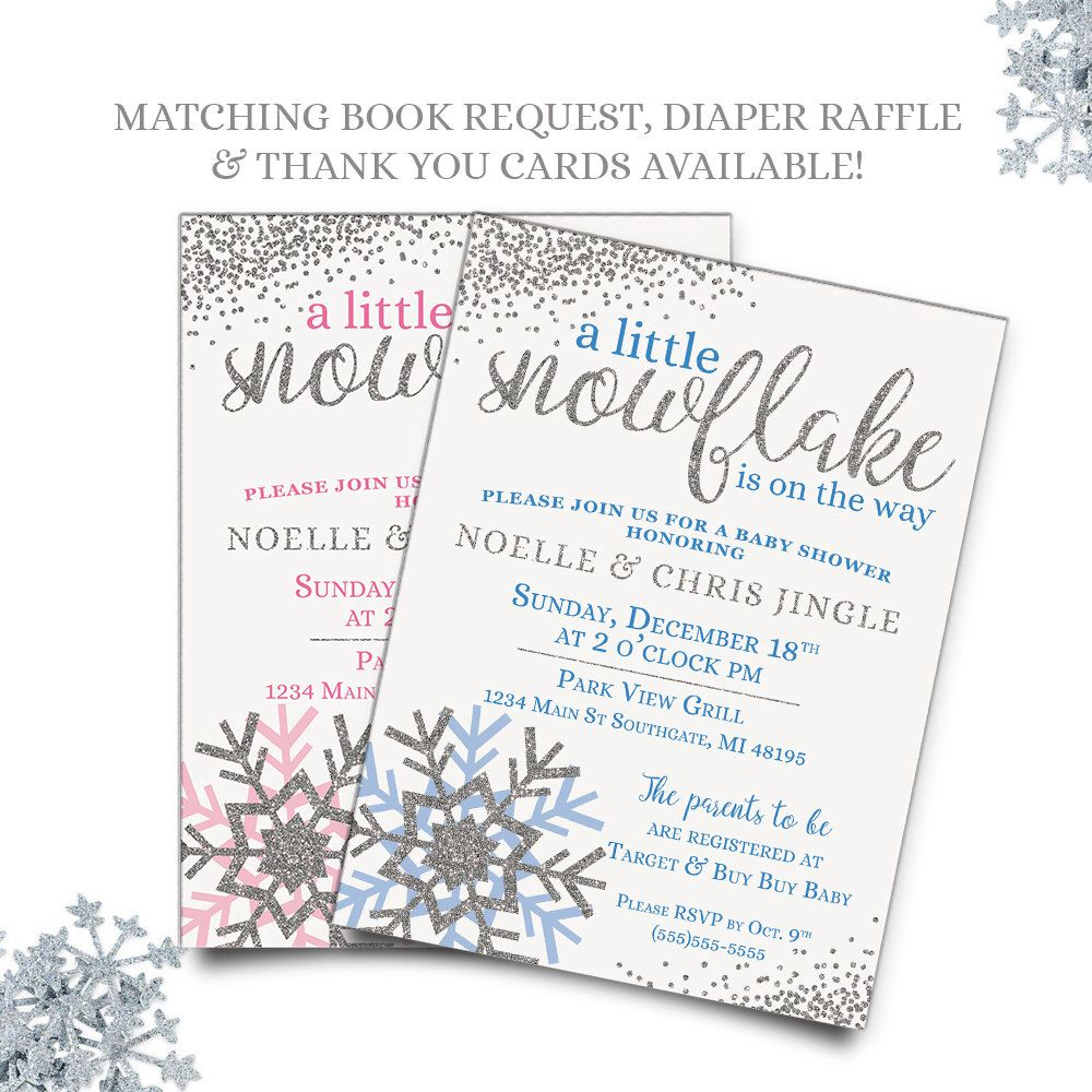Winter Baby Shower Invitations, A Little Snowflake Is On The Way ...