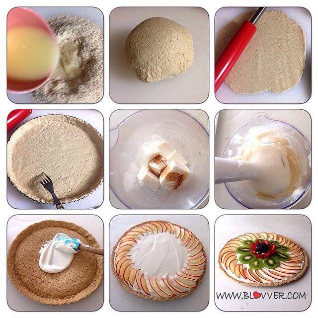 Tarta de frutas.  Ingredientes para la masa: -1 1/2 taza de avena en polvo -1 yema -1/3 taza agua tibia -endulzante  Ingredientes para la crema -600 grs de quesillo 0% grasa (Quesillo es un queso blanco, semi solido que venden en Chile, muy bajo en calorías) -1/2 taza de agua -esencia de vainilla -endulzante  Frutas a elección para decorar. Yo ocupe manzanas, kiwis, frutillas y arándanos.