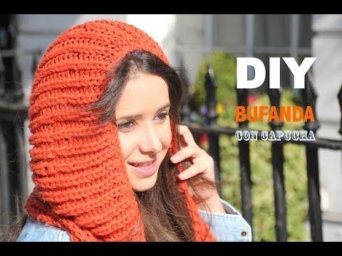 Cómo Tejer una Bufanda con Capucha con Dos Agujas | Crochet y Dos ...