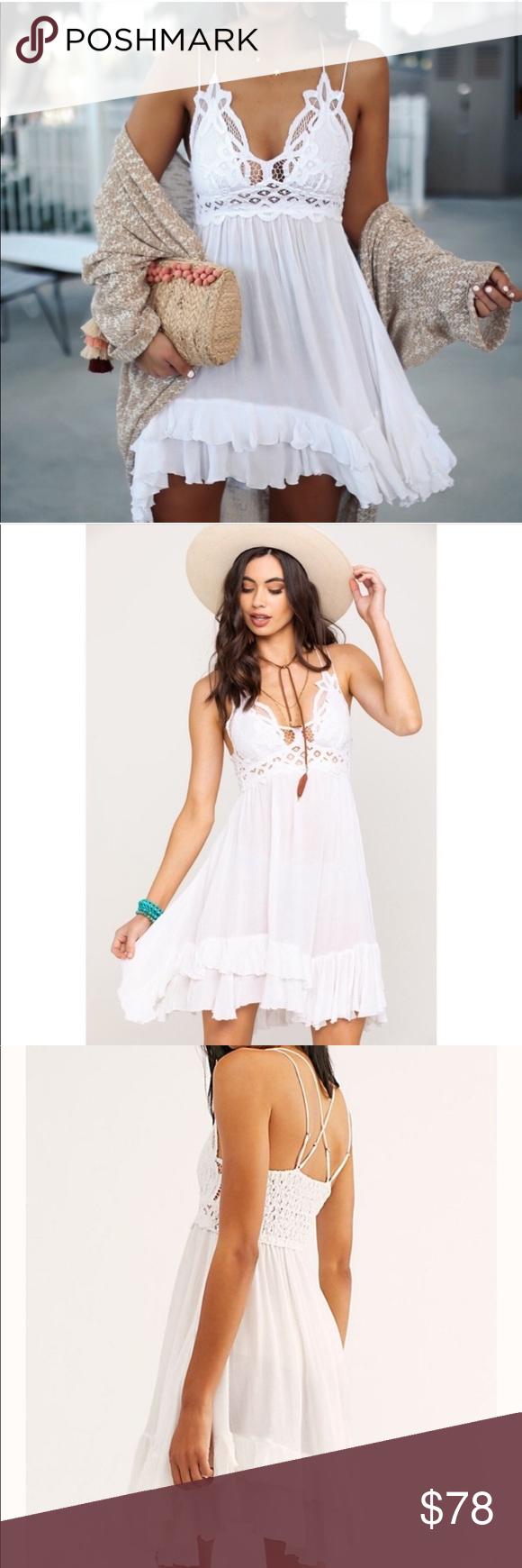Free People Adella Lace Dress White Lace White Dress Lace Dress Lace Slip Dress [ 1740 x 580 Pixel ]