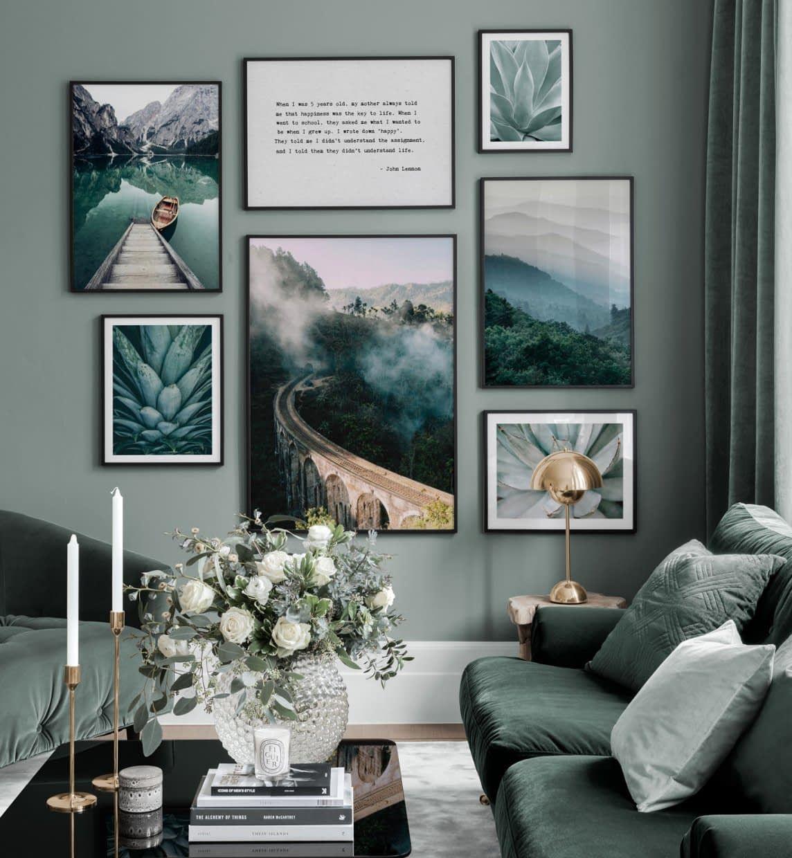 Grüne Bilderwand mit Fotografiepostern und -Zitaten