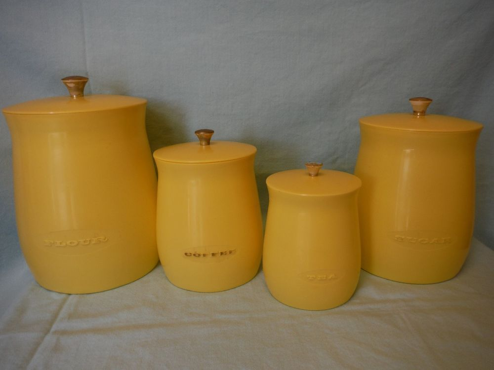 Vintage Mid Century Plas Tex Los Angeles Kitchen Canister Set, Sunshine  Yellow In