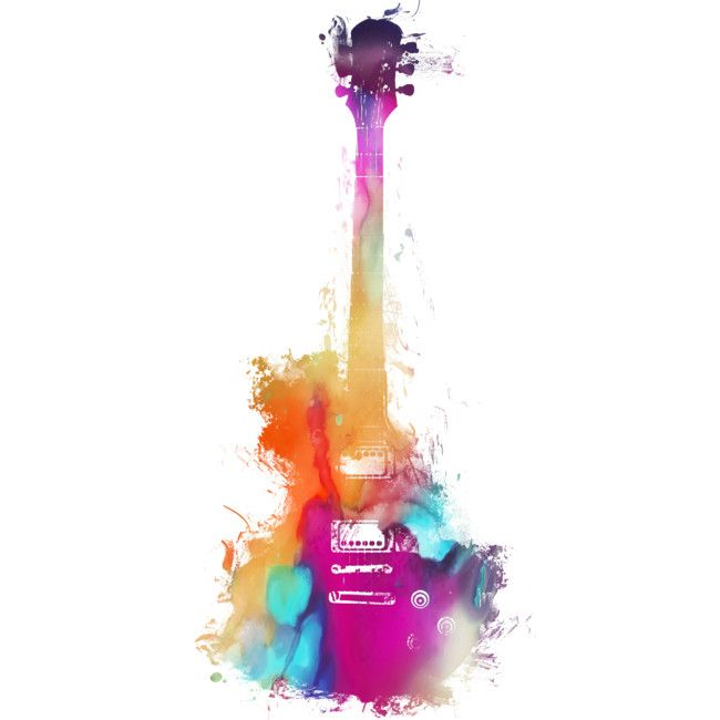 Colored acoustic guitar  musical instrument is a T Shirt designed by jbjart to illustrate your life and is available at Design By Humans is part of Electric guitar art -