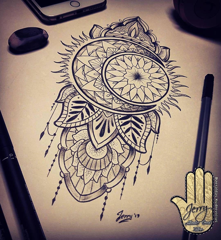 Sun And Moon Tattoo Design Idea, Mendi Mandala Drawing