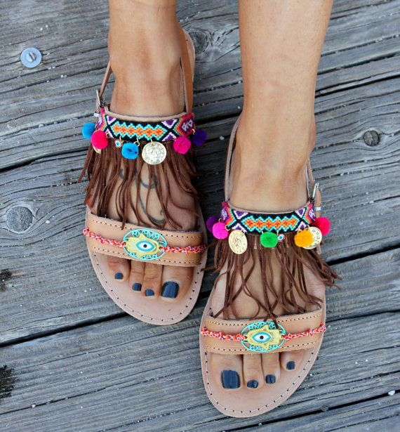 2870bc784d4d Leather sandals handmade to order. Boho style greek sandals made by genuine  leather. They are decorated with bright and colorful little pom poms