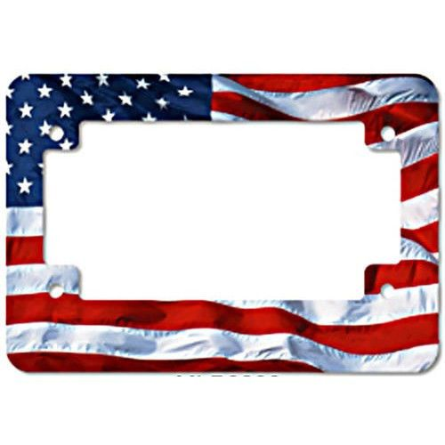 american flag 100 aluminum universal motorcycle license plate frame made in usa - Motorcycle License Plate Frames