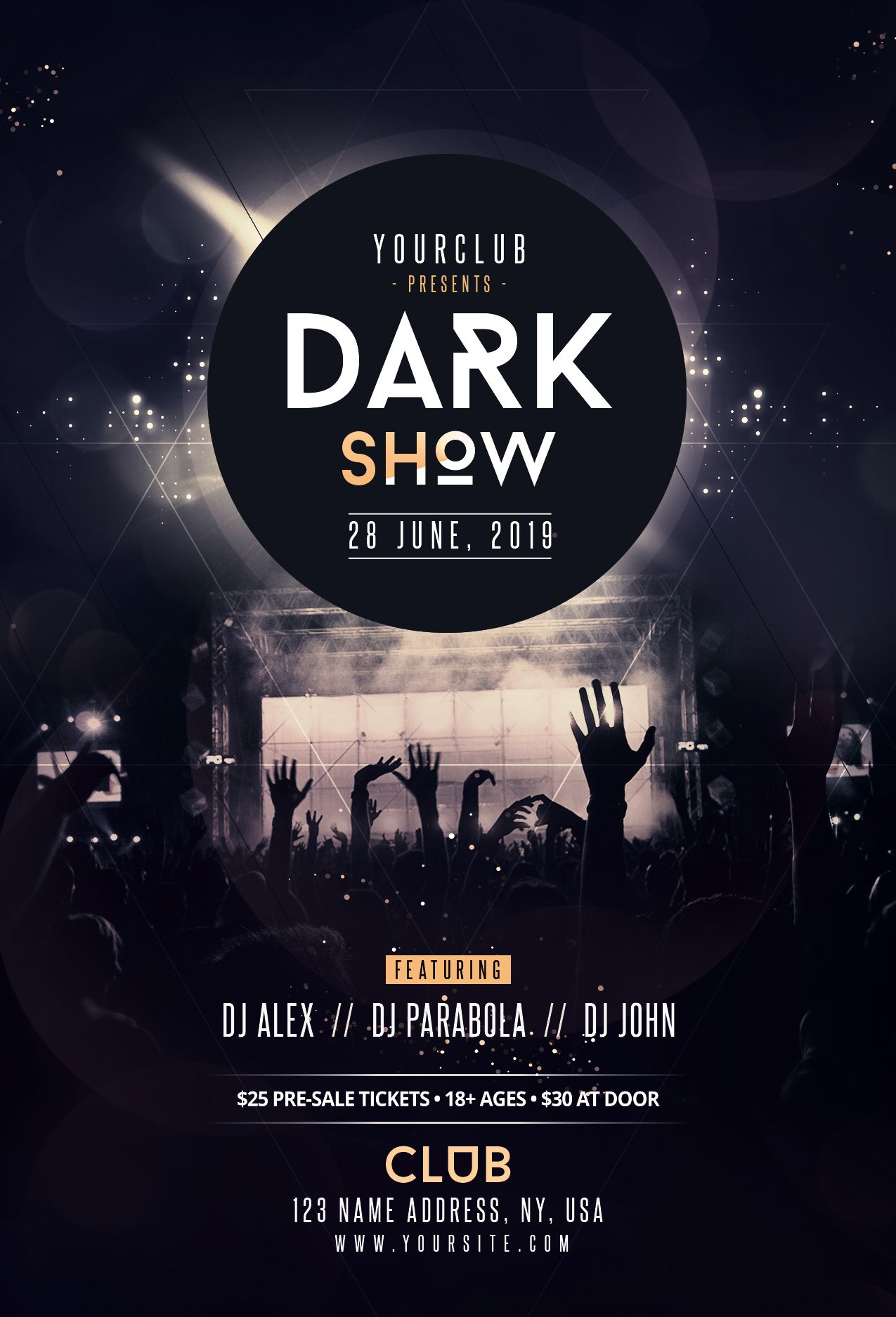 dark show free psd flyer template download design pinterest