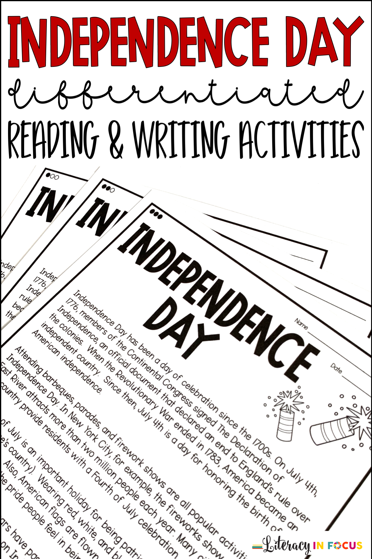 Fourth Of July Reading Comprehension And Writing
