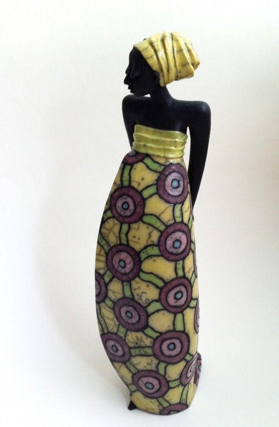 African set similar to this?? Raku Keramik Skulptur von Margit Hohenberger