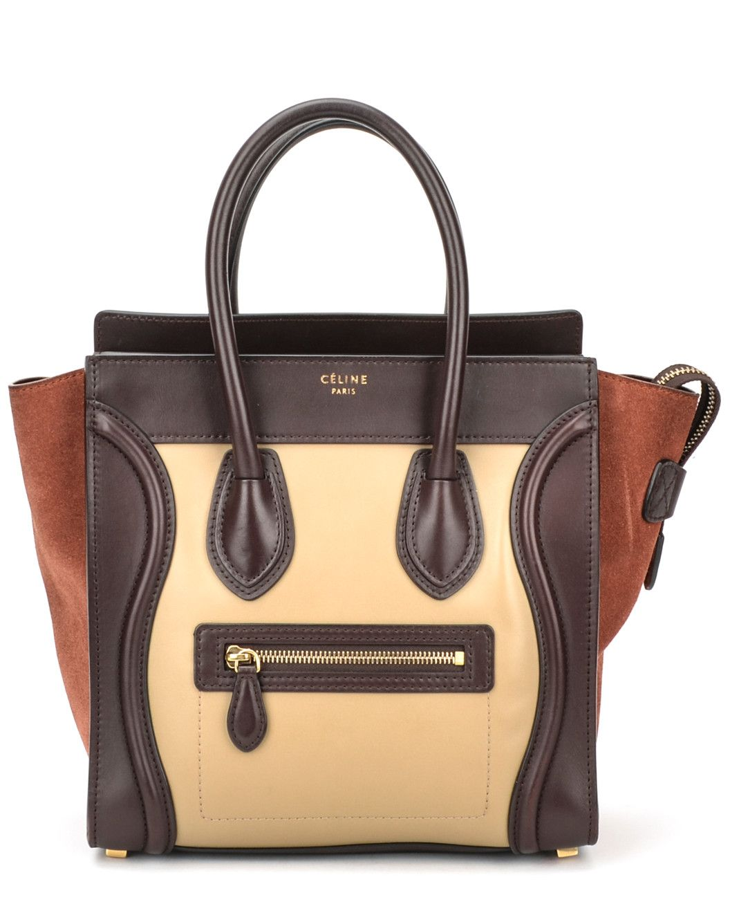 f98c71185f Spotted this CELINE Brown And Cream Drummed Leather Micro Luggage Tote on  Rue La La. Shop (quickly!)