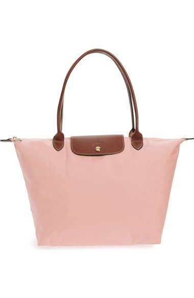 Tote hand Bags lining longchamp Le bags Longchamp 'large leather tote Pliage' nylon shoulder qxctaawngP