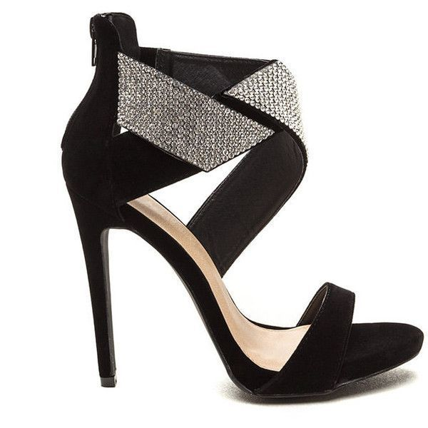BLACK Wrap Your Present Jeweled Velvet Heels (15 CAD) ❤ liked on Polyvore featuring shoes, heels, black, black strappy shoes, black velvet shoes, high heel stilettos, wide shoes and monk-strap shoes #velvetshoeshighheels