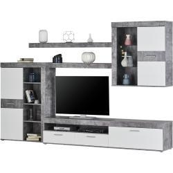 Wohnwand - weiß - 300 cm - 201 cm - 41 cm - Wohnwände > Anbauwände Möbel KraftMöbel Kraft