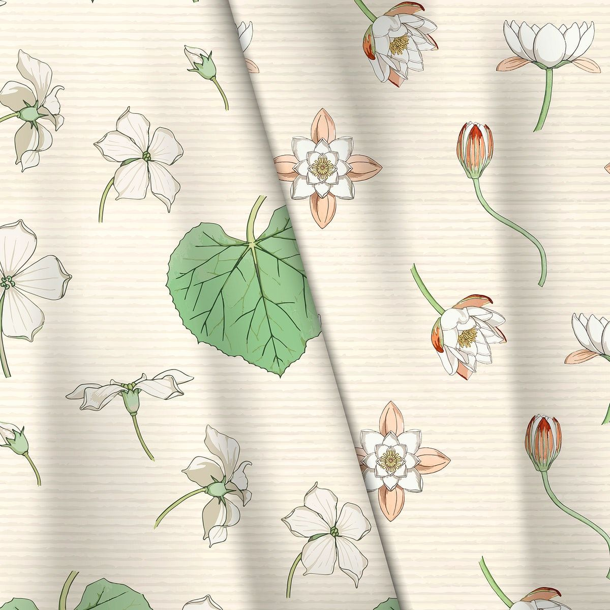 Download Premium Vector Of Fabric With Water Lily And White Flowered In 2020 Flower Frame Flower Fabric Pattern Botanical Prints