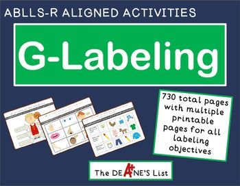**Updated August 2016 to include more than 600 additional pages! Each objective has multiple pages of activities to practice and assess labeling objectives.This product includes 730 total  pages addressing the objectives in the labeling domain of the ABLLS-R assessment and curriculum.Each objective included in this bundle can also be purchased separately in my TPT store.Keywords: ABLLS-R, autism, labeling, language development, early intervention, special education, vocabulary, functions…