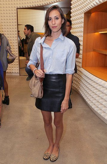 gia coppola - gets it right with the leather skirt, but i'm not so sure if i could pull this off