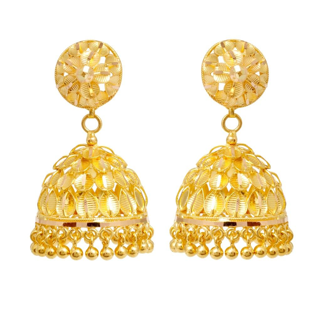 Gold necklace designs in grt jewellers - Trendy Leaves Designed Gold Earring Gold Jewellerygold