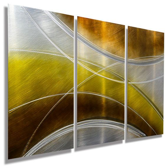 NEW Gold Brown and Silver Abstract Painting by JonAllenMetalArt ...
