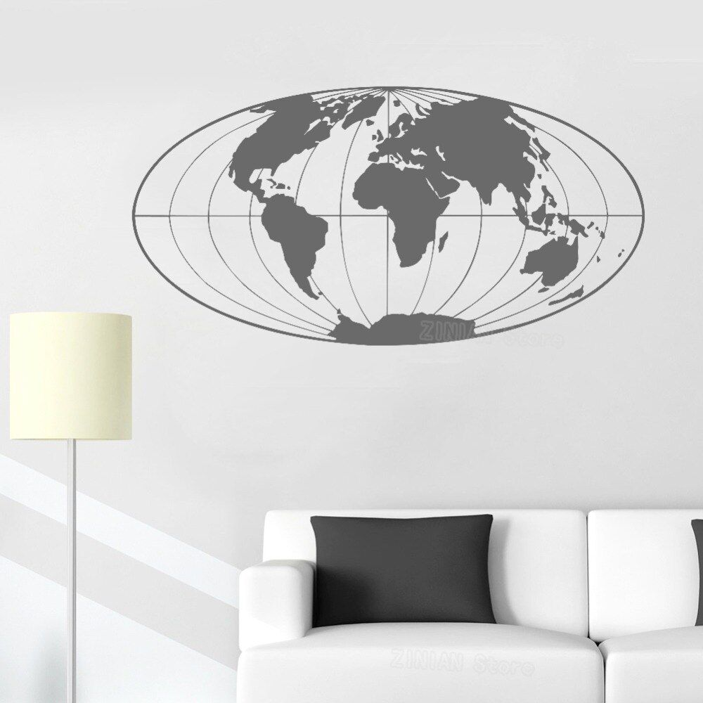 Us 698 25 Off World Map Wall Decal Office Decor Planet Earth Geographical Globe World Map Wall Sticker Home D Office Wall Decals Living Room Decals Room Decals