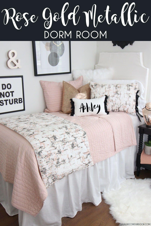 Blush Rose Gold Marble Dorm Bedding Set Dorm Bedding Sets Dorm