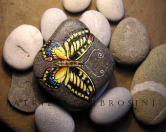 Ručne maľované Butterfly No.5 skalné maľby ručne maľované kameň miniatúrne maľoval skalné umenie