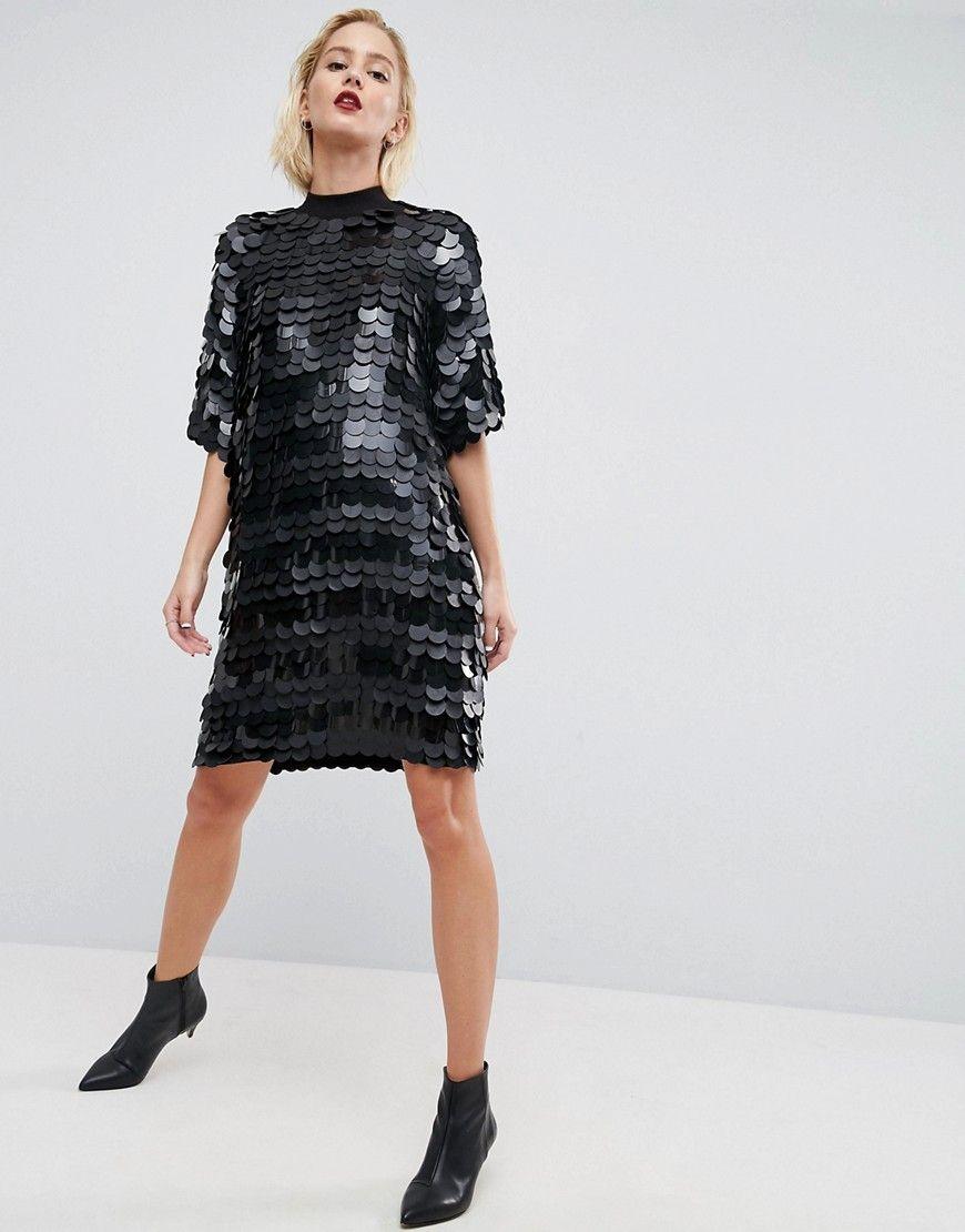 0d1f898cbd76 ASOS WHITE Premium Sequin Mini Dress - Black. ASOS WHITE Premium Sequin  Mini Dress - Black Sequin T Shirt ...