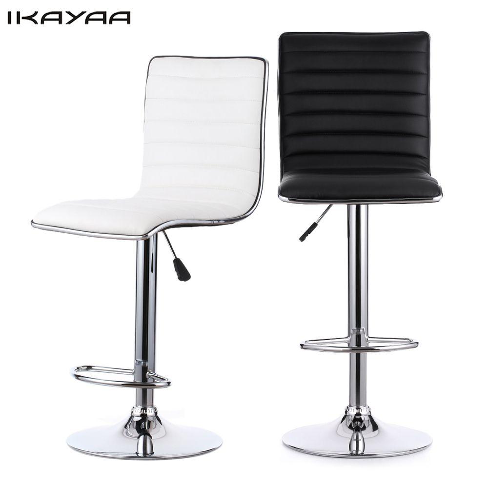 IKayaa 2 Unids Bar Sillas de Cuero de LA PU de 2 colores Giratorias ...