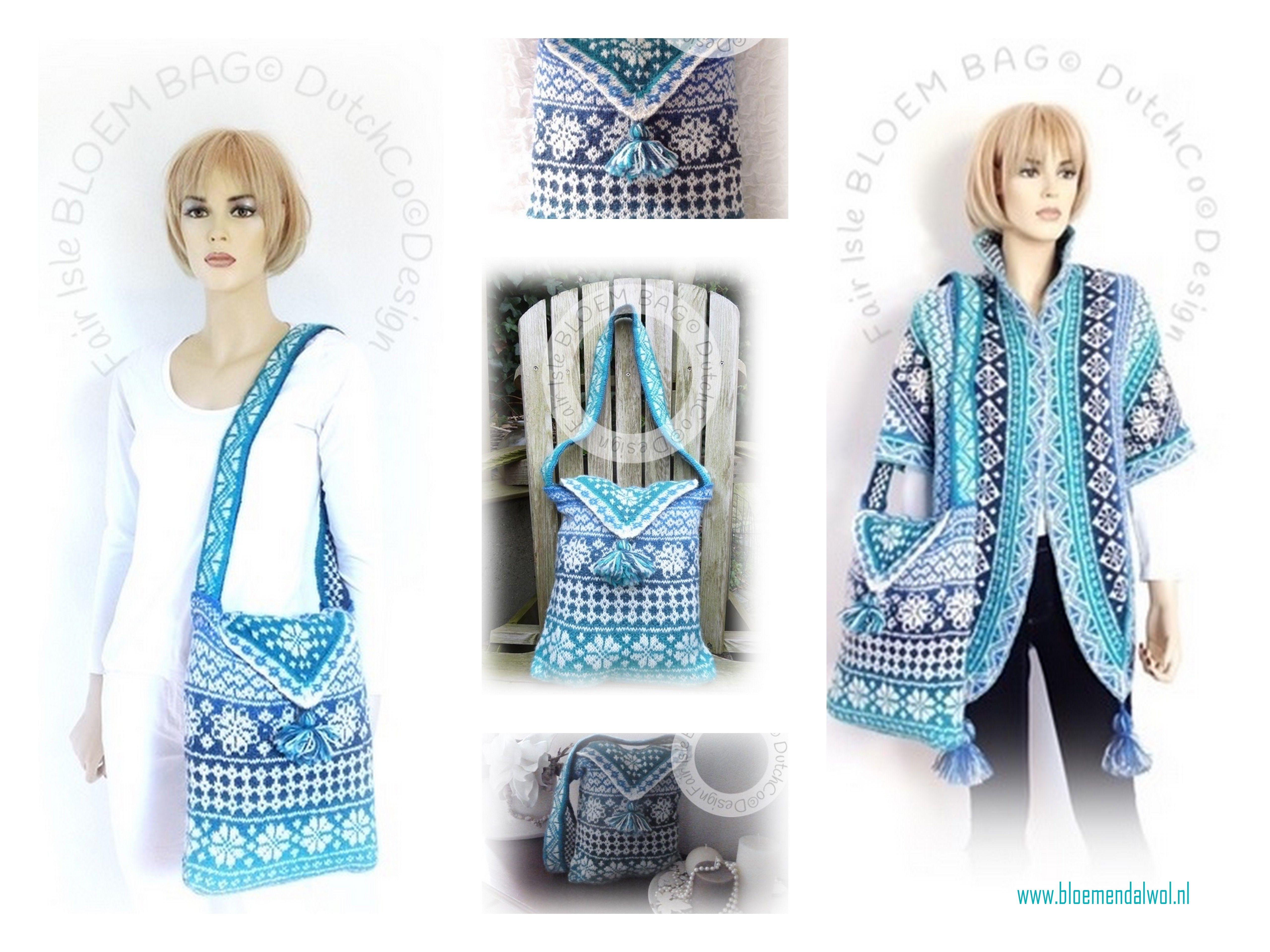 Fair Isle bloem bag @ DutchCo design Stap voor stap handleiding boordevol technieken die je nodig hebt voor fair isle shawls/ het breien met knipbiezen etc. Ideaal oefenproject. Binnenkort te koop via onze vernieuwde webshop http://www.bloemendalwol.nl/nl/  maar je kunt het patroon nu al kopen via ravelry: http://www.ravelry.com/patterns/library/fair-isle-bloem-bag  het patroon van de shawl is los te koop staat niet op dit patroon,