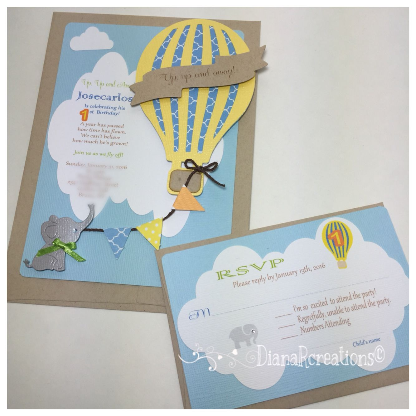 Elephant hot air balloon birthday invitations. | Birthday invites ...
