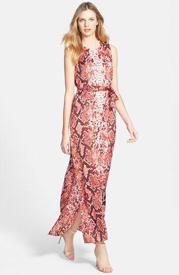 75c0faba09d Ssssssweeet coral print. MICHAEL Michael Kors Snakeskin Print Sleeveless  Maxi Dress   Nordstrom