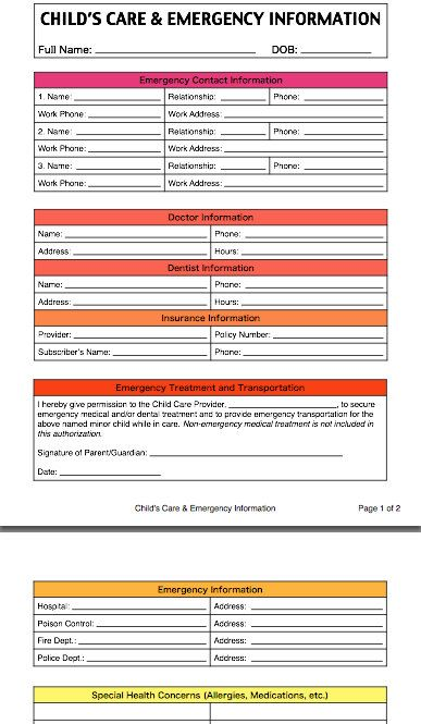 Childu0027s Care and Emergency Contact Information Form by TinyTracker - daycare form