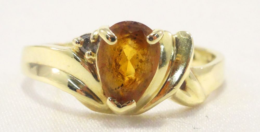 14k Solid Gold Citrine Ring Beautiful Wonderful Detail and Design Free Shipping