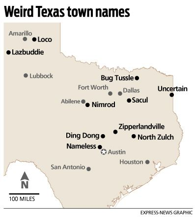 Strange Names Dot Texas Map To Be Funny And The Ojays - Why is texas called the lone star state