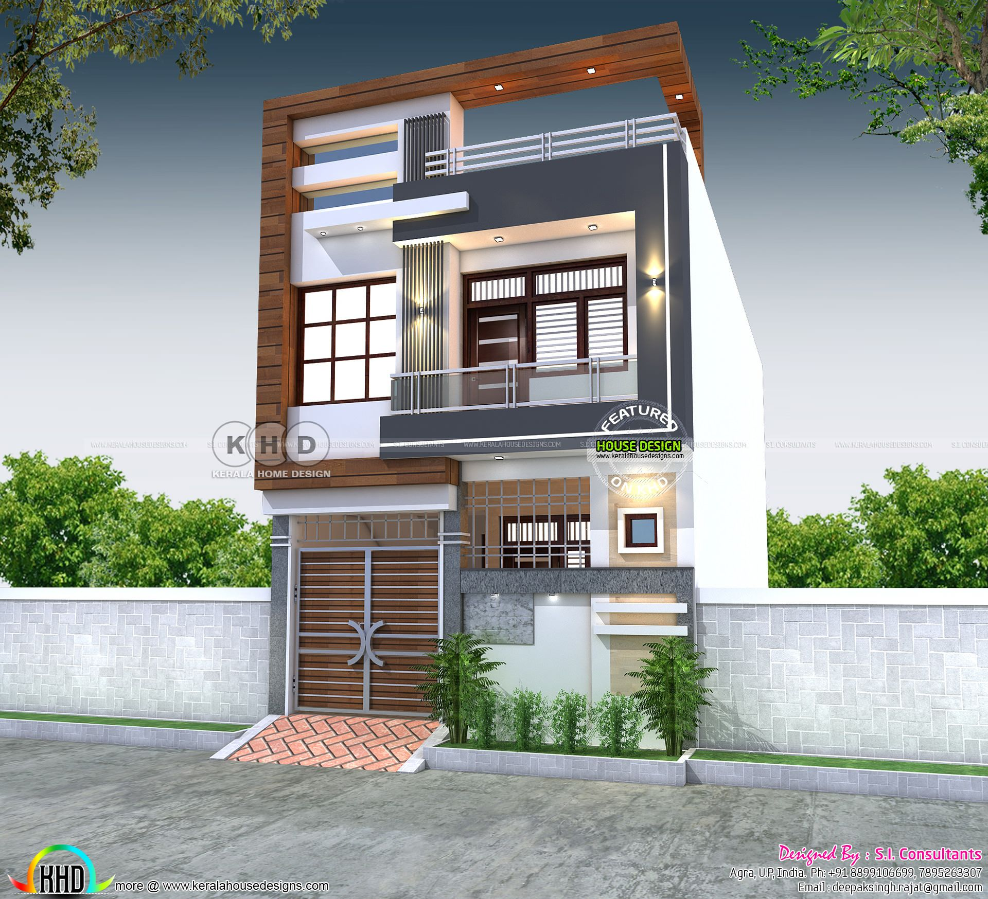 2228 Square Feet 21x50 House Plan In 2020 House Outer Design Duplex House Design Kerala House Design