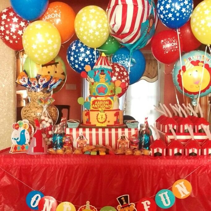 Fisher Price Circus Theme First Birthday Cake Aarons Cake