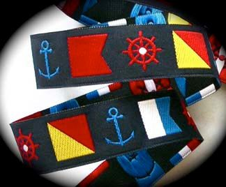 Nautical Woven Ribbon 1 Navy Yellow Red White Nautical Flags And Wheels Anchors 3 Yds 8 50 Via Etsy Nautical Flags Nautical Signal Flags Nautical